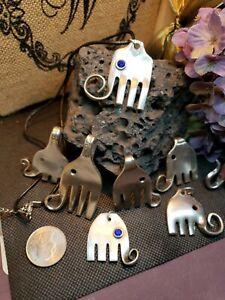 vtg SPOON FORK Elephant Necklace silver Silverware Jewelry birthstone rhinestone