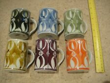 set of 6 coffee mugs: well used; great student starter set; multicoloured
