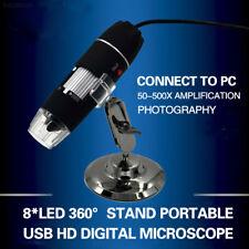 22C2 Negro 50-500X 2MP USB 8 LED Luz Microscopio Lupa Cámara Digital 5953