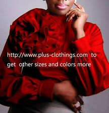 RED handmade Flower Blouse  SATIN soft stretch  top shirt  G663 PLUS  SZ 3X  4X