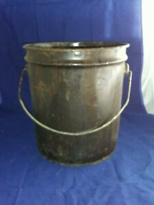 Vintage Central Can Company Chicago Illinois Galvanized Bucket-Black