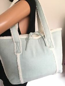 Bath & Body Works Bag Powder Blue Faux Fur Suede  Designer Fashion Hip Boho Blue
