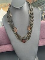 """Vintage signed Talbots Gold Tone 5 Strand Lucite beaded Statement Necklace 18+"""""""