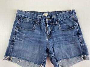 J.Crew Women's Size 0 Denim Jean Shorts Stretch Raw Hem Cuffed Light Wash