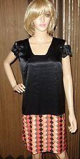 Just Cavalli black MULTI Signed Print 100% SILK Dress sz 42 new