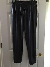 Women's Black Leather Like Look Pants Side Pockets Size L