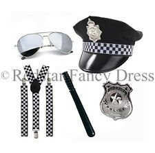POLICE FANCY DRESS BRACES HAT BADGE AVIATORS BATON COP MENS LADIES UNISEX