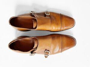 Polo Ralph Lauren Mens Brown Leather Monk Strap Dress Shoe - 10