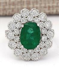 4.43 Carat Natural Emerald 14K White Gold Diamond Ring