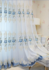 Blue Floral Embroidered Sheer Curtain Luxury Tulle Curtain for Bedroom 1 Panel