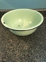Vintage Green & Black 12 in Enamelware Bowl Wash Basin Enamel Farmhouse Chic