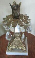 Vintage Hollywood Regency Pedestal Candle Holder Ornate Brass Marble Base Prisms