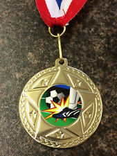 10 x Gold Medals Football Sports Day 50mm High Quality Bulk Buy Free Ribbon