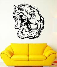 Wall Decal Animal Wolf Wicked Grin Muscles Beast Strength Vinyl Stickers (ed295)