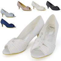 Womens Bridal Shoes Low Heel Evening Ladies Prom Party Satin Rushed Peep Toe 3-8