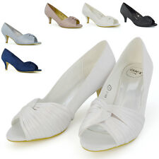 Para mujeres Zapatos De Novia Fiesta de Graduación para Dama Noche Tacón Bajo Satén se precipitó Peep Toe 3-8