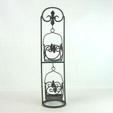 "Gothic Fleur Di Lis Rustic Black Cast Iron Candle Holder Stand 19"" Tall Scroll"
