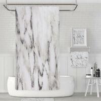 Marble Pattern Fabric Shower Curtain Set 12 Hooks Bathroom Bathroom Curtains UK