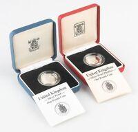 1988 Great Britain Silver 1 Pound Lot (2) Proof & Piedfort w/ CoA Box KM-954a P8