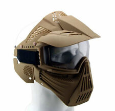 Adjustable Airsoft Wargame Painball Full Face Gas Mask Goggles Protector Khaki