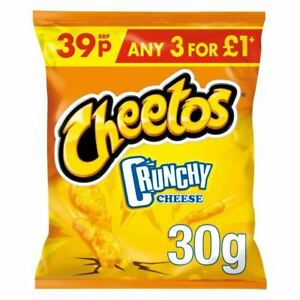 Cheetos Crunchy Cheese Snacks - 30g x 30 Pack - FULL CASE - LONG DATE
