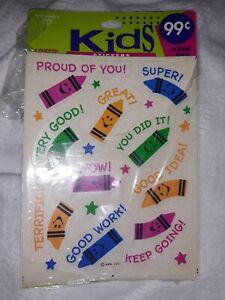 Vintage Ambassador HMK Kids Stickers Crayons Super You Did It Wow Terrific b2