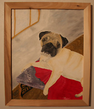 Pug on a Rug; Signed Oil Painting of Cute Dog