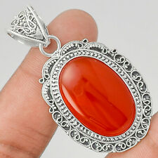 13g Carnelian 925 Sterling Silver Plated Pendant Handmade Jewelry MP01788