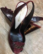 Wm EMPORIO ARMANI Maroon Croc/Suede Peeptoe Slingback Heel Sz 38.5/8M