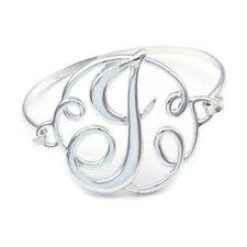 Monogram English Alphabet Letter Initial J Bangle Bracelet Women Jewelry