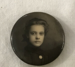 Antique MOURNING Photo Pin Back Button Brooch Young  VICTORIAN Girl Beautiful