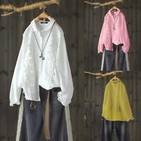 Mode Femme Chemise Lace Patchwork Floral 100% coton Manche Longue Revers Haut