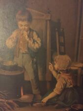 Antique Oil Painting Boy Smoking Girl Wood Stove 1870 Chromolithograph Victorian