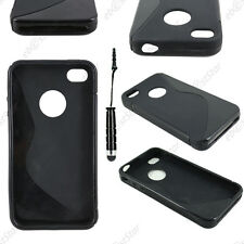 Housse Etui Coque Silicone Motif S-line Noir Apple iPhone 4S 4 + Mini Stylet