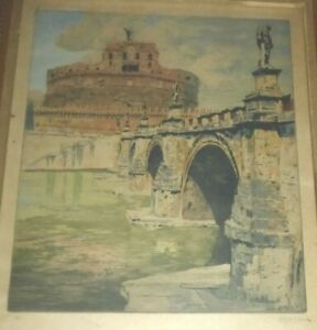 Castel St Angelo Rome Color Etching