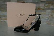 Prada Sandalias Gr 36 Charol Tacones Zapatos Zapatos black nerón nuevo