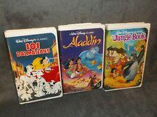Lot of 3 Walt Disney VHS~Black Diamond The Classics~Jungle Book, Aladdin,101...