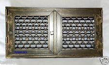 Kamingitter zum Öffnen 2-Flügelig mit Jalousie  Rustikal-Graphit  24 cm x 46 cm
