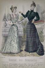GRAVURE COULEURS MODE FEMININE ROBES EVENTAIL SALON JANVIER 1892