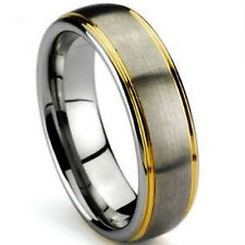 TITANIUM Matte Polished Plain RING BAND with Gold Plated Grooves, size 9