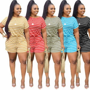 Fashion New Women's Stripe Print Pocket Short Sleeves O Neck Casual Pants Set