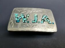 Turquoise Silver Belt Buckle Initials W J A No other markings Western Design