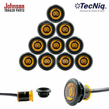 """10 Pack- TecNiq AMBER 3/4"""" LED Clearance Marker Bullet Grommet Lights (P2 Rated)"""