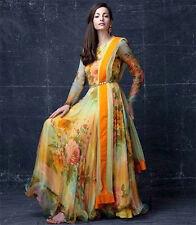 New Glossy Orange Printed Casual Designer Anarkali Suit