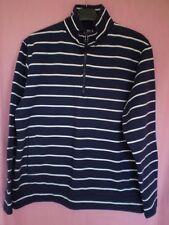 RNLI Navy with White Stripe Cotton Sweatshirt with  Zip Funnel Neck Size 16