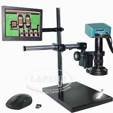 "1080P HDMI Microscope USB Industrial Camera + 8"" LCD Monitor + 180X C-mount Lens"