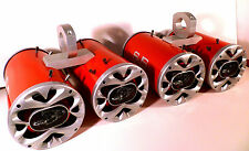 Boat Wakeboard Tower Speakers 2400 Watt Bling Red Quattro -SJS Dezign Top Qlty!!