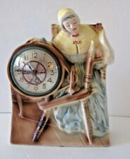 Antique Spinning Wheel Clock With Ceramic Woman Figurine 1940's