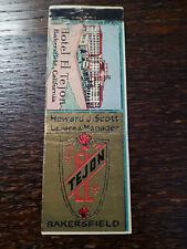 Vintage Matchcover: Hotel El Tejon, Bakersfield, CA  42