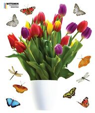 Aufkleber Wandsticker Fensteraufkleber Blume Topf Vase Blüten Tulpen Tulip Diele